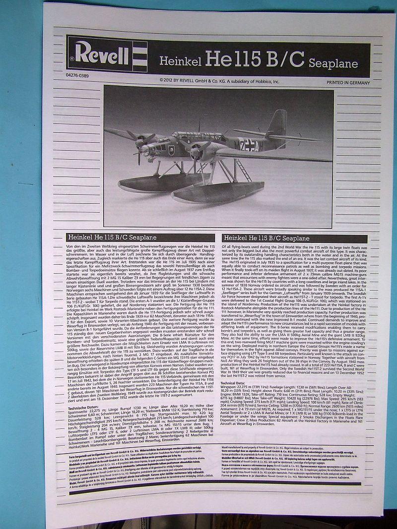 """Heinkel He 115 A-0 """"Base Pollensa - Mallorca"""" Guerra Civil Española / Revell 1/72 Instrucciones"""